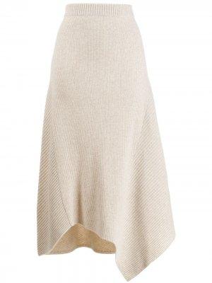 Трикотажная юбка асимметричного кроя Pringle of Scotland. Цвет: нейтральные цвета