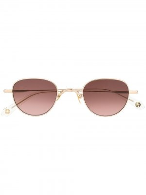 Солнцезащитные очки Guru в круглой оправе Peter & May Walk. Цвет: золотистый