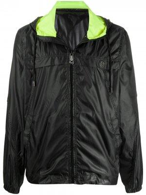 Непромокаемая куртка с капюшоном на шнурке Philipp Plein. Цвет: черный