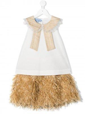 Комплект из топа и юбки с бахромой Mi Sol. Цвет: нейтральные цвета