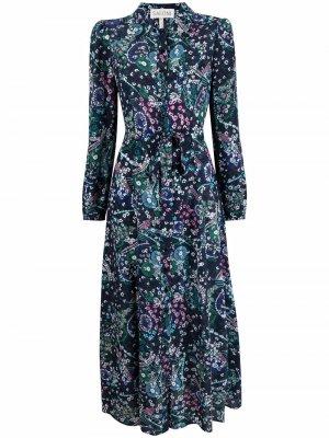 Платье-рубашка с принтом Saloni. Цвет: синий
