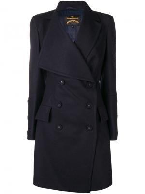 Двубортное пальто с большими лацканами Vivienne Westwood Anglomania. Цвет: синий