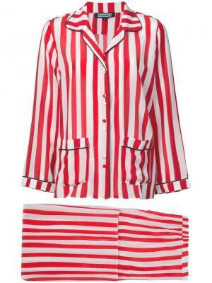 Пижама в полоску Rockins. Цвет: красный