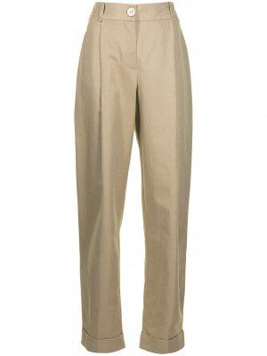 Зауженные брюки с завышенной талией Emporio Armani. Цвет: коричневый