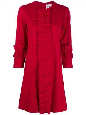 Платье с оборками Blumarine. Цвет: красный
