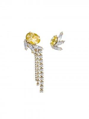 Непарные серьги-подвески с кристаллами Anton Heunis. Цвет: золотистый