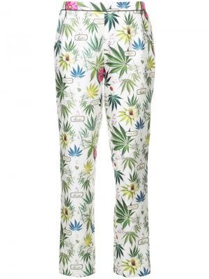 Пижамные брюки с цветочным принтом Fleur Du Mal. Цвет: белый