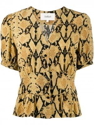 Блузка Cleo со змеиным принтом Ba&Sh. Цвет: желтый