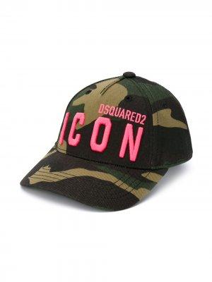 Камуфляжная кепка с логотипом Dsquared2 Kids. Цвет: зеленый