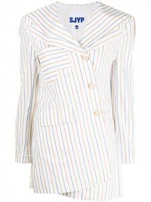 Полосатый пиджак с матросским воротником SJYP. Цвет: белый