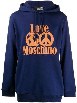 Худи с логотипом Love Moschino. Цвет: синий