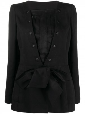 Многослойный жакет 2002-го года с поясом Chanel Pre-Owned. Цвет: черный