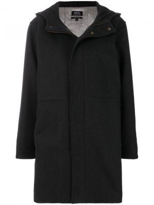 Пальто-дафл с капюшоном A.P.C.. Цвет: черный