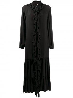 Платье миди с оборками Semicouture. Цвет: черный