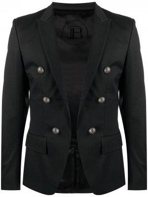 Двубортный пиджак строгого кроя Balmain. Цвет: черный