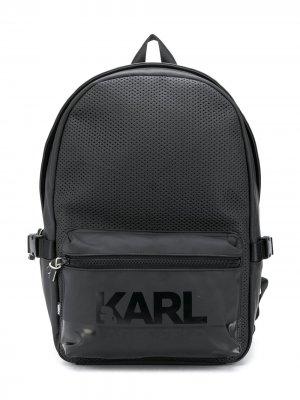 Рюкзак с перфорацией и логотипом Karl Lagerfeld Kids. Цвет: черный