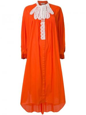 Платье с контрастным кружевом Tsumori Chisato. Цвет: оранжевый