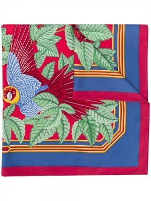 Платок Les Perroquets 1992-го года pre-owned Hermès. Цвет: синий