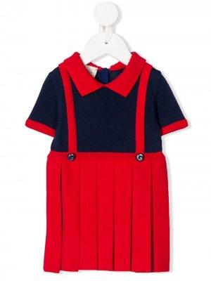 Трикотажное платье-сарафан Gucci Kids. Цвет: синий