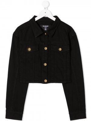 Джинсовая куртка с тиснеными пуговицами Balmain Kids. Цвет: черный