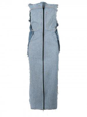 Джинсовое платье с необработанными краями Litkovskaya. Цвет: синий