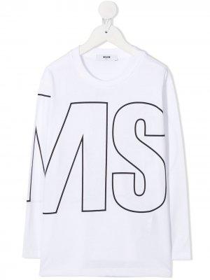 Топ с логотипом Msgm Kids. Цвет: белый