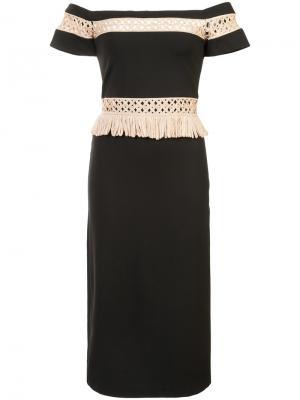 Приталенное платье с открытыми плечами Alexis. Цвет: чёрный