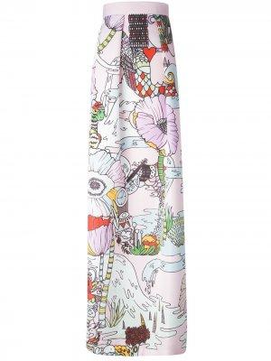 Удлинённая юбка Midlar Mary Katrantzou. Цвет: розовый