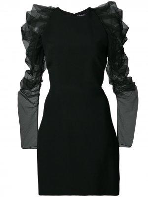 Платье мини с оборками на рукавах Cushnie. Цвет: синий