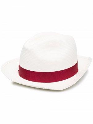 Соломенная шляпа с лентой Borsalino. Цвет: белый