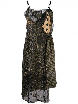 Платье-комбинация в технике пэчворк Preen By Thornton Bregazzi. Цвет: коричневый