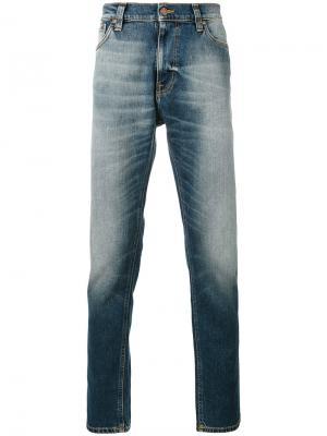 Джинсы кроя слим с потертой отделкой Nudie Jeans Co. Цвет: синий