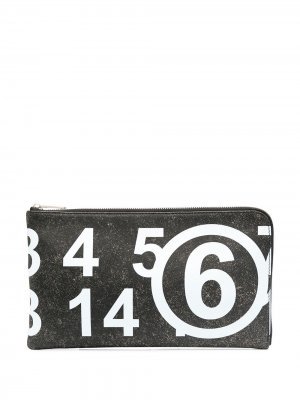 Клатч с логотипом MM6 Maison Margiela. Цвет: черный