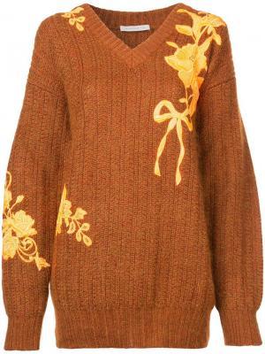 Свитер с цветочной вышивкой Christopher Kane. Цвет: коричневый
