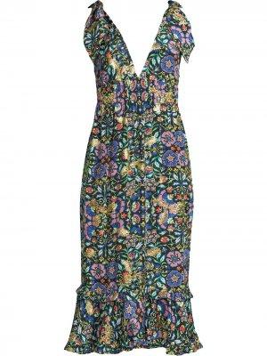 Присборенное платье с завязками на плечах Nicole Miller. Цвет: черный