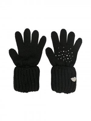 Перчатки со стразами Monnalisa. Цвет: черный