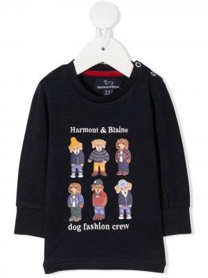 Толстовка с принтом Dog Fashion Crew Harmont & Blaine Junior. Цвет: синий