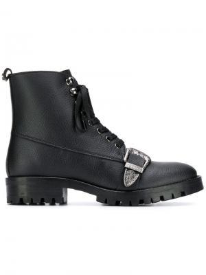 Ботильоны с пряжками Trussardi Jeans. Цвет: черный