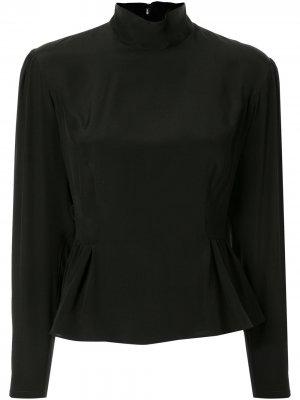 Блузка с длинными рукавами и баской Giambattista Valli. Цвет: черный