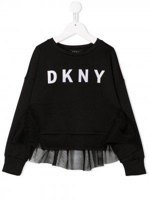 Толстовка с сетчатой вставкой и логотипом Dkny Kids. Цвет: черный