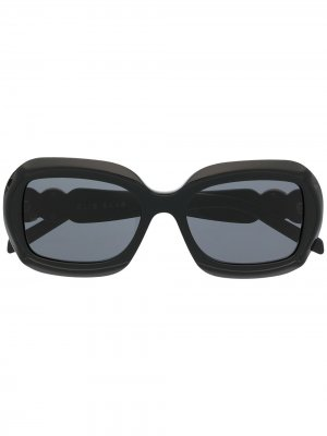 Солнцезащитные очки ES03 в массивной оправе Elie Saab. Цвет: черный
