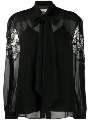 Кружевная блузка с бантом Givenchy. Цвет: черный