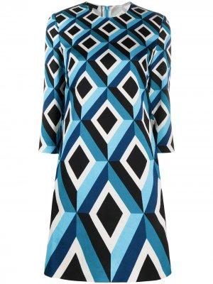 Платье-рубашка с геометричным принтом Escada. Цвет: синий
