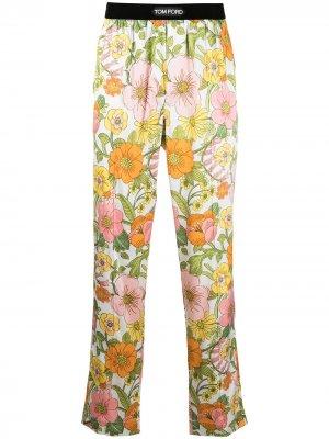 Пижамные брюки с цветочным принтом TOM FORD. Цвет: розовый
