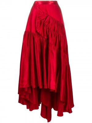 Ярусная юбка асимметричного кроя Koché. Цвет: красный