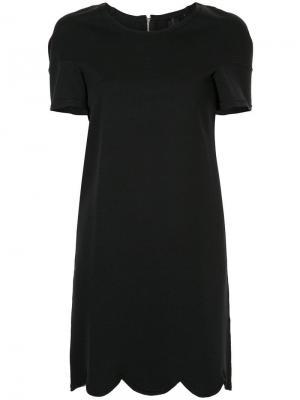 Платье с короткими рукавами волнистым подолом Comme Des Garçons Pre-Owned. Цвет: черный
