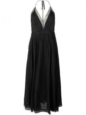 Платье макси с вырезом-петлей халтер Charo Ruiz. Цвет: черный