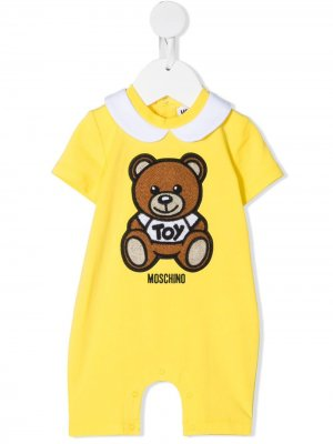 Ромпер с вышитым логотипом Moschino Kids. Цвет: желтый