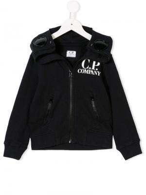 Contrast logo hoodie Cp Company Kids. Цвет: синий