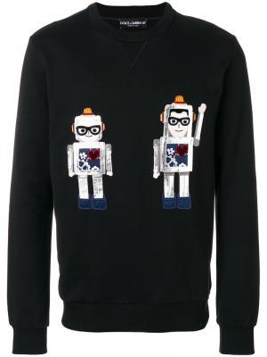 Толстовка с аппликацией роботов Dolce & Gabbana. Цвет: чёрный
